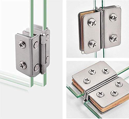 (2 piezas) de acero inoxidable gabinete de cristal Bisagra de puerta de vino Gabinete Bisagra de vidrio Gabinete Abrazadera de vidrio sin perforación (Bilateral)