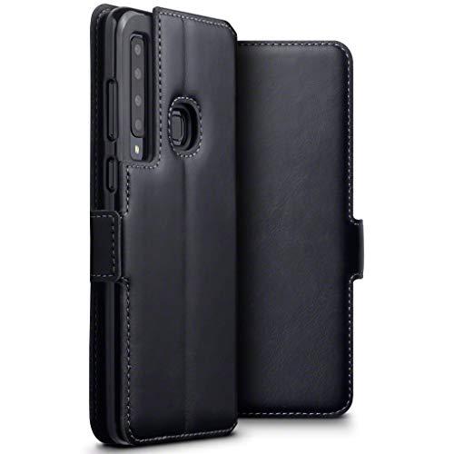 TERRAPIN, Kompatibel mit Samsung Galaxy A9 2018 Hülle, Premium ECHT Spaltleder - Slim Fit - Flip Handyhülle Samsung Galaxy A9 2018 Tasche Schutzhülle - Schwarz …