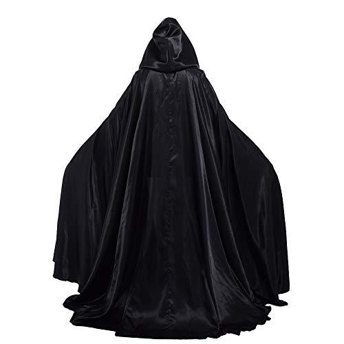 GRACEART Damen Cape Umhang Mit Kapuze Mittelalter Mantel Lang Halloween kostüm Für Hochzeit Braut Abendkleid Brautkleid (schwarz)