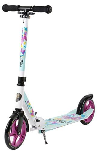 Star-Scooter Aluminium Kickscooter Roller Kinderroller Tretroller für Jungen und Mädchen ab 6-7 Jahre | Big 205mm Wheel mit XXL Trittbrett Scooter für Kinder und Erwachsene | Weiß & Türkis