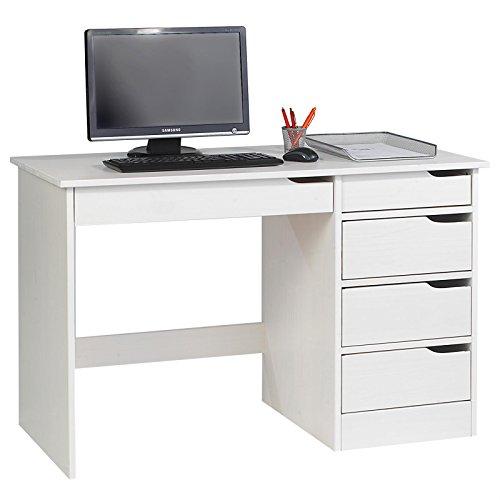 IDIMEX Schreibtisch Hugo Kinderschreibtisch Jugendschreibtisch Schülerschreibtisch, Kiefer massiv lackiert in weiß