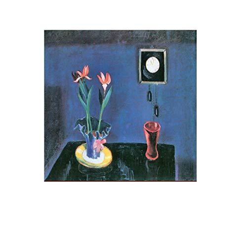 Gigoo Walter Gramatte reproducción de Artista Pintura al óleo Naturaleza Muerta con Reloj y tulipán Lienzo impresión para Sala de Estar decoración de Dormitorio 60x60cm sin Marco