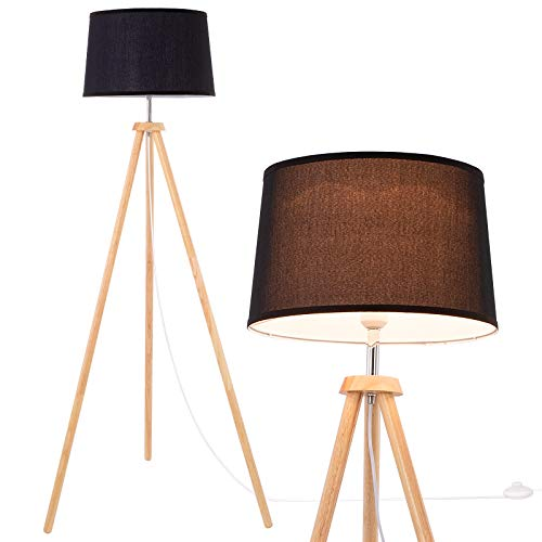 WUDSEE Modern Wooden Tripod Floor Lamp for Mid-Century Living Room Bedroom Studio with Linen Fabric Black Lampshade
