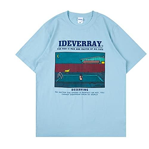 WYLYSD Streetwear Hip Hop Print T-Shirt Grafik Herrenbekleidung Baumwolle Rundhalsausschnitt Kurzarm Top White Blue Letter Tee