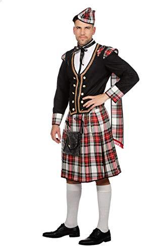 W5131-56 weiß-rot-schwarz-kariert Herren Schotten Kostüm Schotte Highlander Gr.56