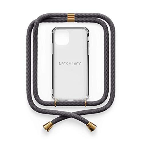 NECKLACY® - The Phone Necklace | durchsichtige Handyhülle mit stylischer Kordel zum Umhängen - Smartphone Crossbody Hülle | für iPhone 12 Pro Max in Stormy Grey
