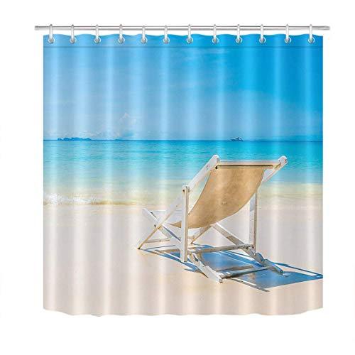 /N Silla de Club de Playa Tropical Cortina de Ducha HD Impermeable y ecológica