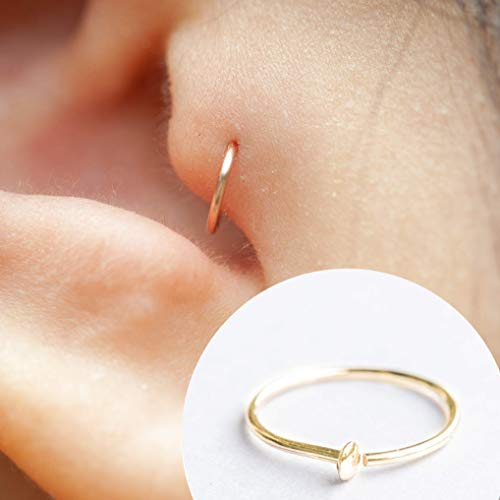 Tragus Earring 22g, Thin Tragus Jewelry, Tragus Piercing Gold, Tiny Tragus Hoop, Helix Cartilage Piercing, Rook Piercing, Cartilage Earring 22 gauge 5mm - 6mm