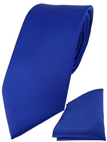 TigerTie Designer Krawatte Einstecktuch in dunkles royalblau einfarbig uni