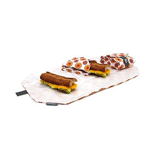Roll'eat-Boc'n'Roll - Stoffbrotdose | wiederverwendbarer ökologische Sandwichbeutel, BPA frei, verstellbare Sandwichverpackung, waschbar - Muster Blumen Orange, 11x15cm(geschlossen), 54x32cm(offen)