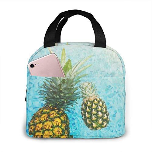 Pineapples Water Lunch Bag Bento Box Tote Handbag, Geometry Organizador de almuerzo portátil con cierre de cremallera Bolsa de preparac