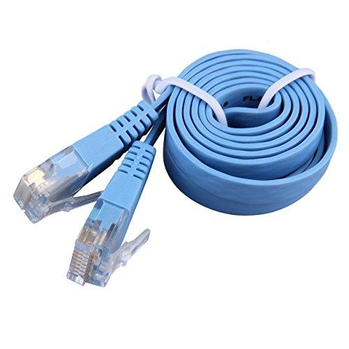 Nowakk Parche Ethernet Plano RJ45 CAT6 8P8C, Cable LAN de Red Cable de 1 m Cable LAN portátil Durable Home Parvicostellae, Azul