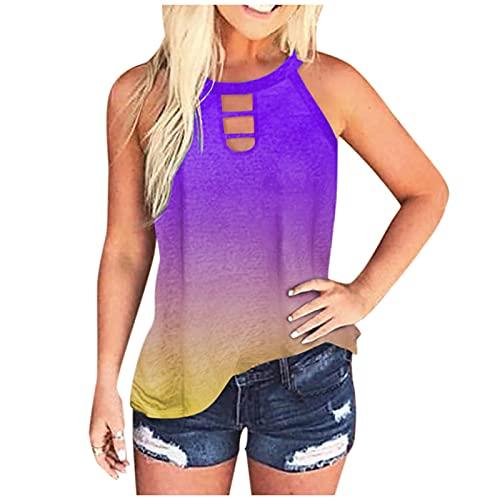 TYTUOO Blusa de moda para mujer, cuello alto, sin mangas, hombros descubiertos, sueltos, sin mangas, sin mangas, con teñido anudado, casual, verano, corte de túnicas