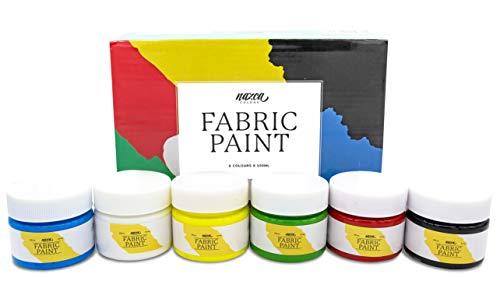 Pintura para Tela y Ropa Calidad Profesional Nazca - 6 Colores x 100ml - Set de Pintura Textil Acrílica Permanente Ideal para toda clase de Tejidos, Camisetas, Jeans - Gran Capacidad de Cobertura