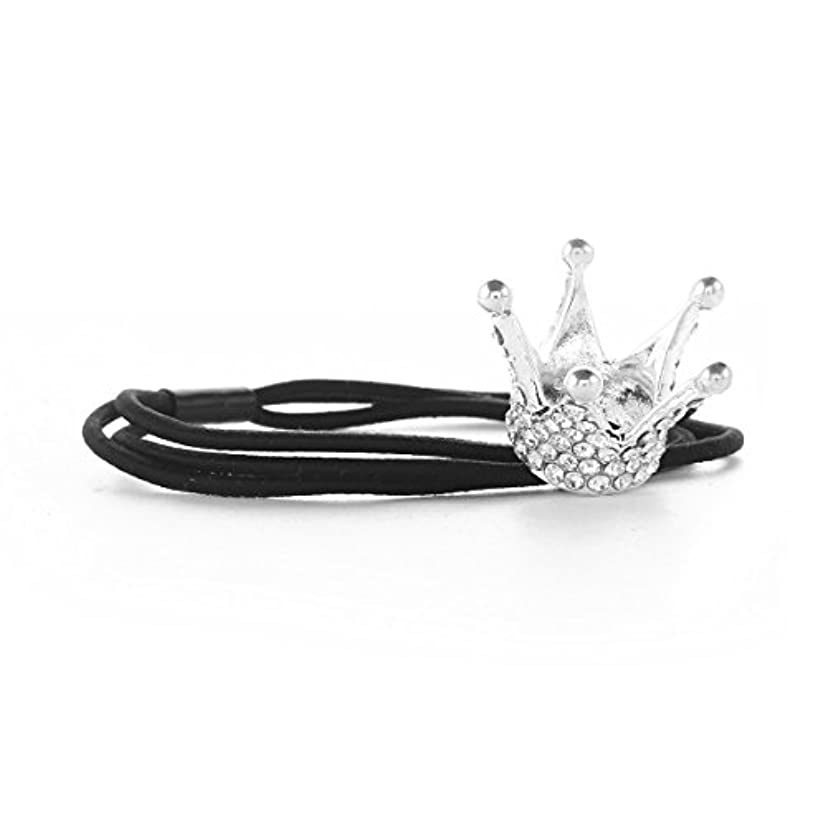 Santfe Silver Plated Rhinestone Crystal Stones Stretch Elastic Band Hair Tie Ponytail Holder (crown2)