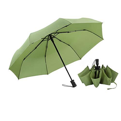 BOY Umbrella, Compact Umbrella for Folding, Windproof Travel Umbrella with Teflon Coating and Light Soft 210T Fabric, Folding Umbrella for Women and Men,Green