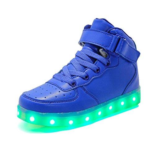 Rojeam Unisex Erwachsene High-Top LED Schuhe Sportschuhe USB Lade Outdoor Leichtathletik Beiläufige Paare Schuhe Sneaker Für Damen Herren Jungen Mädchen Kinder Blau 27 EU