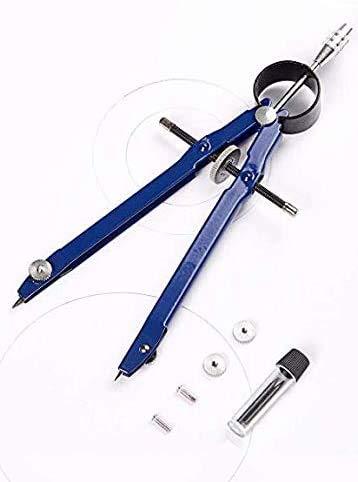 1 Stück Zirkel Geometrie Kompass Zeichnung Metall Kompass Geometriezirkel Blau Schulzirkel Schnellverstellzirkel mit Mitteltriebspindel mit Ersatzminen Mathematik für Grundschule Schule