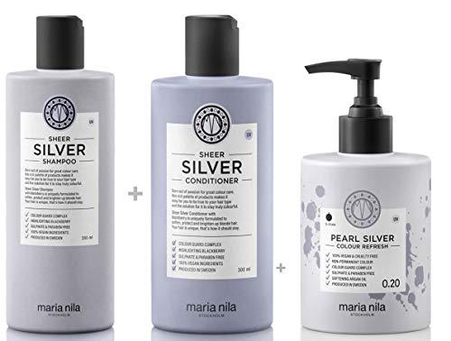 Maria Nila Sheer Silver Set - Shampoo 350 ml + Conditioner 300 ml + Colour Refresh Pearl Silver 0.20 300ml