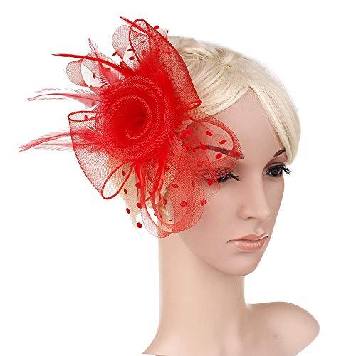 Accessoires pour cheveux Accessoires de cheveux de voile de mariée coiffure plume maille fil robe robe de soirée deux roses bandeau Europe et Amérique-rouge
