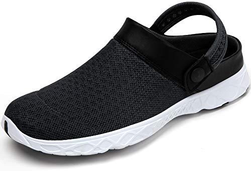 SAGUARO Zuecos para Hombre Mujer Zapatillas de Playa Respirable Malla Ahueca hacia Fuera Las Sandalias Verano Zuecos de Jardín Antideslizante, 081 Gris Oscuro, 42 EU