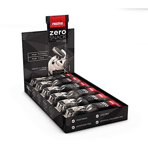 Prozis Zero Snack Barra Rico En Proteína y Bajo en Hidratos de Carbono y Azúcares, Galletas y Crema - 12 x 35 g