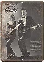 ギルドギターホーボーケンニュージャージーウォールメタルポスターレトロプラーク警告ブリキサインヴィンテージ鉄絵画装飾オフィスベッドルームリビングルームクラブのための面白いハンギングクラフト