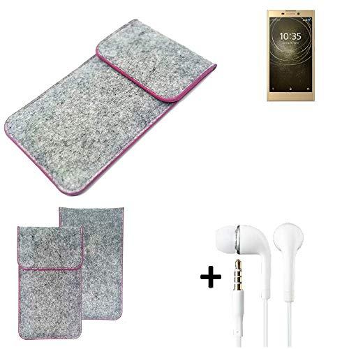 K-S-Trade Filz Schutz Hülle Für Sony Xperia L2 Dual-SIM Schutzhülle Filztasche Pouch Tasche Hülle Sleeve Handyhülle Filzhülle Hellgrau Pinker Rand + Kopfhörer
