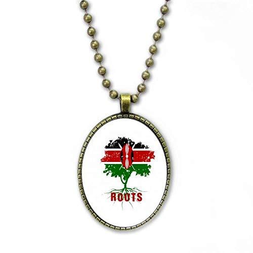 Flag Root Family Kenya Art Deco Gift Fashion Halskette Vintage Chain Bead Anhänger Schmuckkollektion