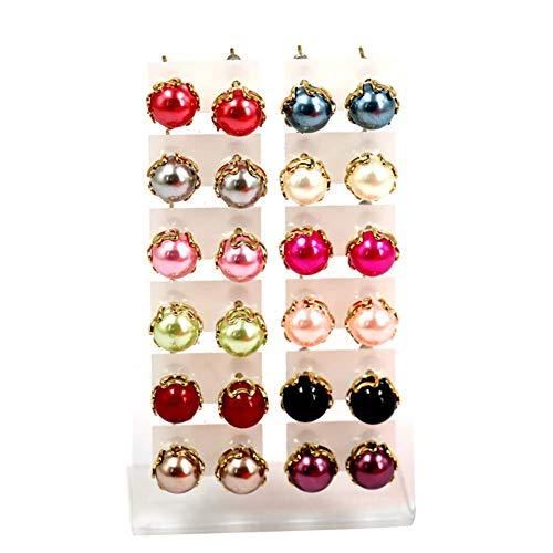 Juego de 12 pares de elegantes pendientes redondos de cobre con perlas de imitación, color multicolor.