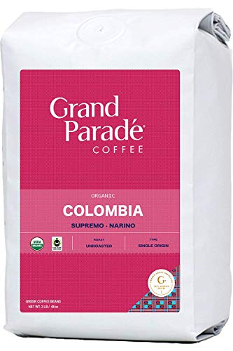 Grand Parade Coffee, 3 LB Unroasted Green Coffee Beans - Organic Colombia Narino Supremo - Women Produced Single Origin - High Altitude Specialty Arabica - Low Acid - Fair Trade - Fresh Raw Green Coffee - 3 Pound Bag
