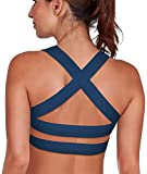 SHAPERX Mujeres Desmontables Copas Cushion Apoyo Deporte Bra Yoga BH Top Strappy Cross X-Back Cuello Colgante,UK-DT143-Teal-S
