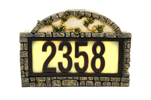 Natures Mark Solar Power Lighted House Numbers Address Sign - LED Illuminated Outdoor Resin Light Up House Number Sign Decor for Home Yard Street (Ivy)