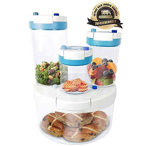 FFS Neue ERFINDUNG Vakuum Vorratsdosen & Frischhaltedosen mit integrierter Pumpe | 4er-Set | 100% luftdicht & wasserdicht | BPA frei | Aufbewahrungsdose & Vorratsbehälter