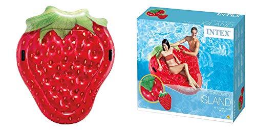 Lively Moments Badeinsel Erdbeere / Floater mit Haltegriffen / Luftmatratze / aufblasbare Schwimminsel ca. 168 x 142 cm