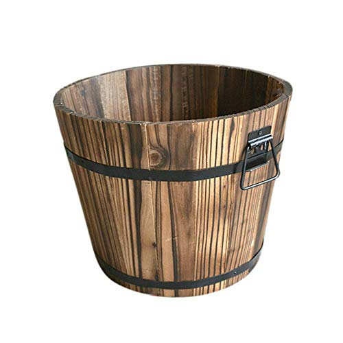 LQKYWNA Carbonized Wood Pot Wooden Bucket Barrel Planters Flowerpot Rustic Patio Planters Flower Pots for Plants