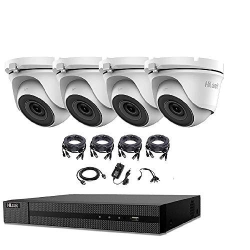 HIKVISION HILOOK 5MP CCTV SISTEMA 4CH 5 MP Cámara DVR interior exterior 4X DOME TORRETA Cámaras 2OM visión nocturna HDMI Kit (2TB HDD, BLANCO)