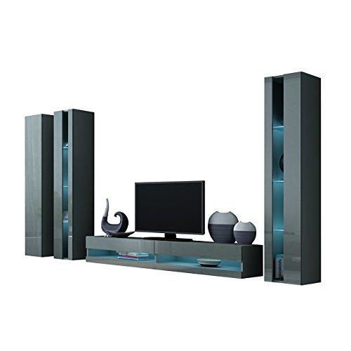Wohnwand Vigo New VI Anbauwand, Design Mediawand, Modernes Wohnzimmer Set, Hängeschrank TV Lowboard, Vitrine (mit Blauer LED Beleuchtung, Grau/Grau Hochglanz)