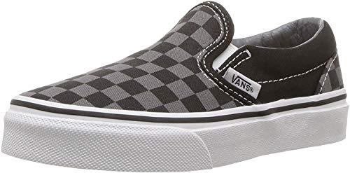 Vans Unisex-Child Classic Slip-ON-K, Black/Pewter Grey/Checkerboard, 2.5 M US Little Kid