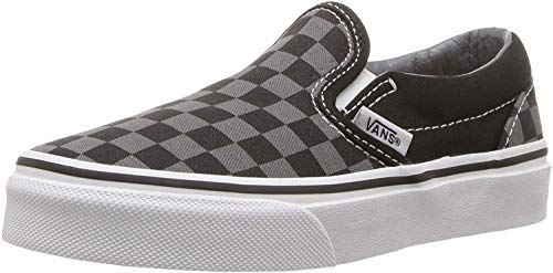 Vans Kids' Classic Slip-ON-K, Black/Pewter Grey/Checkerboard, 13.5 M US Little Kid