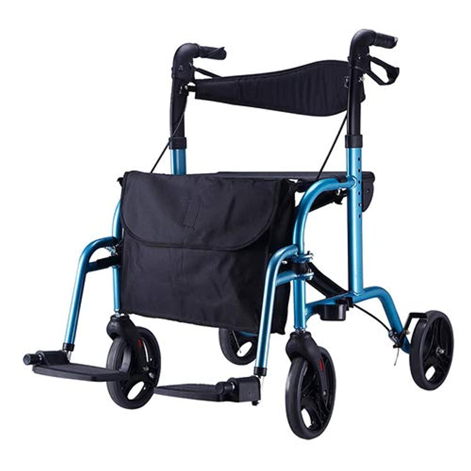 HYRL Aluminum Alloy Walker, Senior Four-Wheel Drive Wheelchairs,Elderly People with Disabilities Shopping Carts, Elderly Lightweight Scooter with Brake