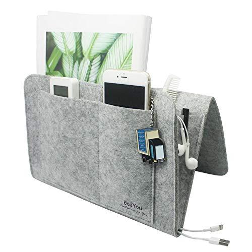 BeaYou Bedside Caddy Upgraded Bedside Pocket Hanging Storage Organizer Bag Holder for Remote Control Tablet Glasses for Home Sofa Desk Holder with 5 PocketsWithout Chemical Smelling