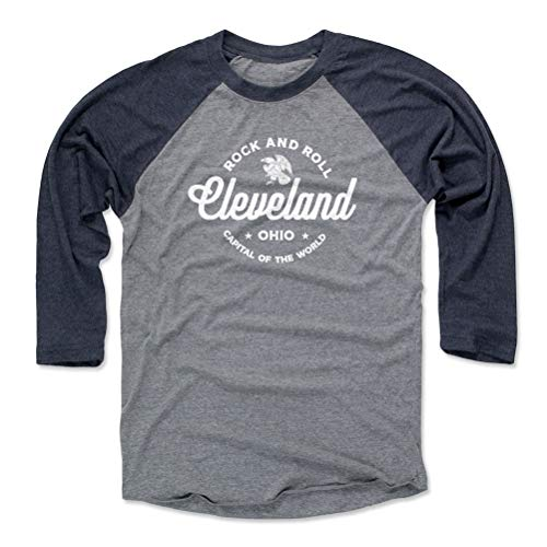 Cleveland Tee Shirt (Baseball Tee, Large, Navy / Heather Gray) - Cleveland Ohio Rock And Roll WHT