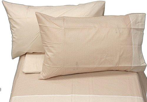 Bassetti Drap Minimal beige pour lit double (drap plat 240 x 280 + drap housse 175 x 200 + 4 taies d'oreiller 50 x 80 cm).
