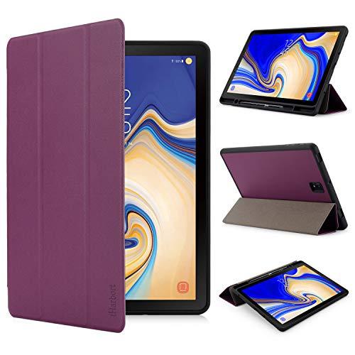 iHarbort Hülle für Samsung Galaxy Tab S4 11.2 Zoll (2018 Version) SM-T830 T835, PU-Leder Ständer Tasche Etui Schutzhülle Halter mit Stiftschlitz, 3-Fach, Auto Wake/Sleep Funktion (Lila)