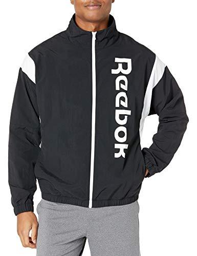 Reebok Herren Trainingsjacke mit linearem Logo, durchgehender Reißverschluss, Herren, Jacke, Training Essentials Linear Logo Full Zip Jacket, schwarz / weiß, Medium