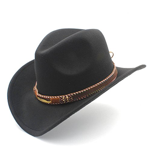 XXY Sombrero de Vaquero con enrollar ala Arriba de Fedora Sombrero Hombre Gorras de Moda (Color : Negro, tamaño : 56-58cm)