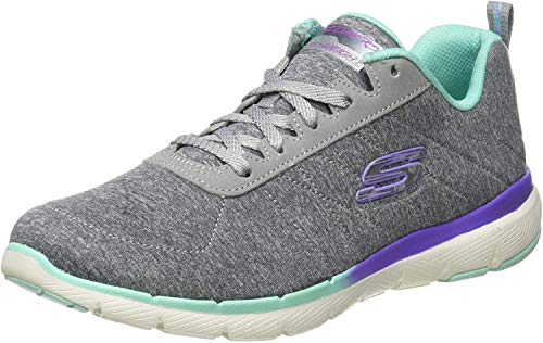 Skechers Flex Appeal 3.0, Zapatillas Mujer, Gris (Gray Mesh/Purple & Green Trim Gymt), 38 EU