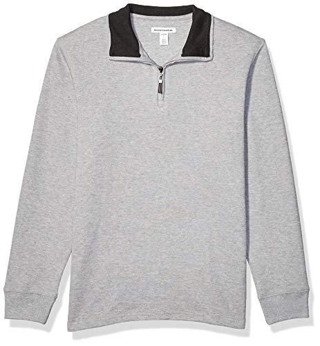 Amazon Essentials Men's Quarter-Zip French Rib Sweater, Light Grey Heather, Medium