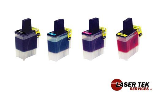 Laser Tek Services Compatible Ink Cartridges for Brother DCP-110C, 120c, Intellifax 1840C, 1940CN, 2440C MFC-210C, 3240C, 3340CN, 420CN, 5440CN, 5840CN, 620CN, 640CW (LC41- BK, C, M, Y)